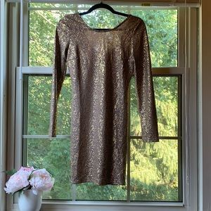 Gold Bodycon Party Dress